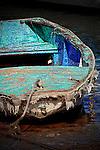 Rowboat tied to the shore, Balboa Island, CA.