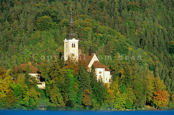 Church of the Assumption, a 17th century baroque church, located in island in Lake Bled, Slovenia, AGPix_0545.