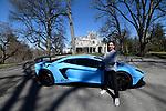 A Pre-Bar Mitzvah Portrait Shoot With An Orange McLaren and Blue Lamborghini At Lyndhurst Castle In Tarrytown, New York.