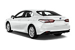 Car pictures of rear three quarter view of 2019 Toyota Camry Premium 4 Door Sedan Angular Rear