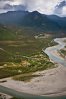 Aerial of the historic mining community of Wiseman, Alaska.