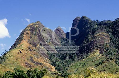 Serra Negra, Brazil. Atlantic rainforest (Mata Atlantica); rainforest in steep valleys between granite hills.
