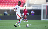 ZAPOPAN, MEXICO - MARCH 21: Andres Perea #15 of the United States chases down a loose ball during a game between Dominican Republic and USMNT U-23 at Estadio Akron on March 21, 2021 in Zapopan, Mexico.