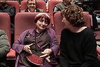 Agnes VARDA - Jane BIRKIN - Ouverture de la retrospective Jane Birkin - La Cinematheque francaise 25 janvier 2017 - Paris - France