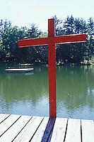 Wooden cross on pier<br />
