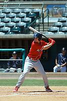 Lakewood BlueClaws outfielder Mickey Moniak (22) at bat during a game against the Charleston RiverDogs  on May 3, 2017 at Joseph P. Riley Ballpark in Charleston, South Carolina. Lakewood defeated Charleston 10-6. (Robert Gurganus/Four Seam Images)