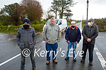 Residents of Tullig Cross on the Killorglin to Cromane highlighting the dangers of the junction and are seeking traffic calming measures to be put in place. L to r: Martin Riordan, Michael Moriarty, Harry Carey and Pat Joe Riordan.