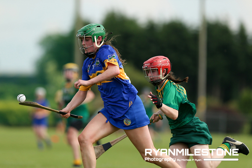 Tipperary's Casey Hennessy in action against Meath's Sofia Payne during the Liberty Insurance All Ireland Senior Camogie Championship Round 1 between Tipperary and Meath at the Ragg, Co Tipperary. Photo By Michael P Ryan.