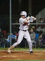 Sarasota Sailors Mario Trivella (17) bats during a game against the Riverview Rams on February 19, 2021 at Rams Baseball Complex in Sarasota, Florida. (Mike Janes/Four Seam Images)