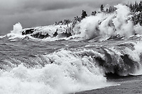 """""""A Face Among Waves""""<br /> Putting a face to the wave (instead of a face to the name). I often notice faces or other familiar shapes in wave spray. This photo has and emerging face near the upper center -- with an open mouth, larger nose and one eye showing. Such a character!"""