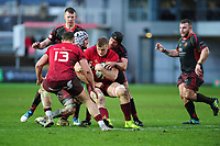 Gavin Coombes of Munster is tackled by Ollie Griffiths of Dragons during the Guinness Pro14 Round 14 match between the Dragons and Munster Rugby at Rodney Parade in Newport, Wales, UK.  Saturday 26 January  2019