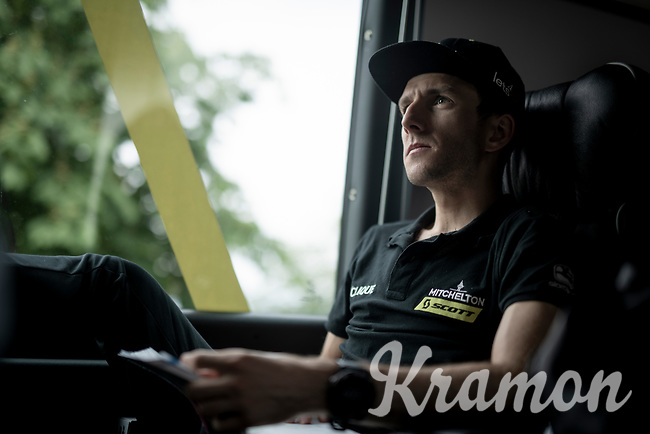 Simon Yates (GBR/Mitchelton-Scott) during the team breefing at the race start in Pinerelo<br /> <br /> Stage 13: Pinerolo to Ceresole Reale/Lago Serrù (196km)<br /> 102nd Giro d'Italia 2019<br /> <br /> ©kramon