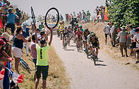 breakaway group hitting pavé sector #14<br /> <br /> Stage 9: Arras Citadelle > Roubaix (154km)<br /> <br /> 105th Tour de France 2018<br /> ©kramon