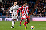 Real Madrid's Lucas Vazquez and Girona FC's Douglas Luiz during Copa del Rey match between Real Madrid and Girona FC at Santiago Bernabeu Stadium in Madrid, Spain. January 24, 2019. (ALTERPHOTOS/A. Perez Meca)