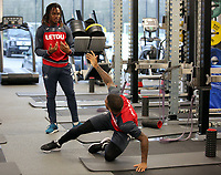 (L-R) Renato Sanches and Luciano Narsingh exercise in the gym during the Swansea City Training at The Fairwood Training Ground, Swansea, Wales, UK. Wednesday 22 November 2017