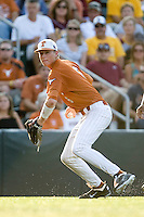 Texas Longhorns third baseman Erich Weiss #6 prepares to throw the ball to first against the Arizona State Sun Devls in NCAA Tournament Super Regional baseball on June 10, 2011 at Disch Falk Field in Austin, Texas. (Photo by Andrew Woolley / Four Seam Images)