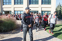 """Stanford, CA - September 15, 2018: """"The Walk"""" before the Stanford vs UC Davis football game Saturday at Stanford Stadium.<br /> <br /> The Cardinal scored 30. UC Davis 10."""