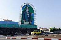 DJIBOUTI city, image of president Ismail Omar Guelleh / DSCHIBUTI, Bildnis des Praesidenten Ismail Omar Guelleh