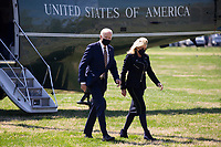 US President Joe Biden and First Lady Jill Biden arrive on the Ellipse by Marine One en route to the White House, in Washington, DC, USA, 05 April 2021. Biden returns to the White House following a trip to Camp David.<br /> Credit: Michael Reynolds / Pool via CNP /MediaPunch