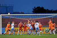 Carli Lloyd (10) of the Chicago Red Stars takes a free kick. Sky Blue FC defeated the Chicago Red Stars 1-0 during a Women's Professional Soccer match at Yurcak Field in Piscataway, NJ, on June 17, 2009.