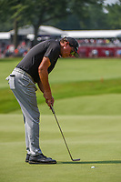 4th July 2021, Detroit, MI, USA;  Phil Mickelson (USA) drains his par putt on 18 during the Rocket Mortgage Classic Rd4 at Detroit Golf Club on July 4,