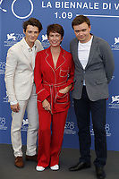 """VENICE, ITALY - SEPTEMBER 09: Tomasz Zietek, Sandra Korzeniak and Director Jan P. Matuszynski at the photocall of """"Leave No Traces"""" during the 78th Venice International Film Festival on September 09, 2021 in Venice, Italy.<br /> CAP/GOL<br /> ©GOL/Capital Pictures"""