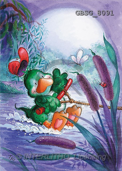 Ron, CUTE ANIMALS, Quacker, paintings, green duck, waterski(GBSG8091,#AC#) Enten, patos, illustrations, pinturas