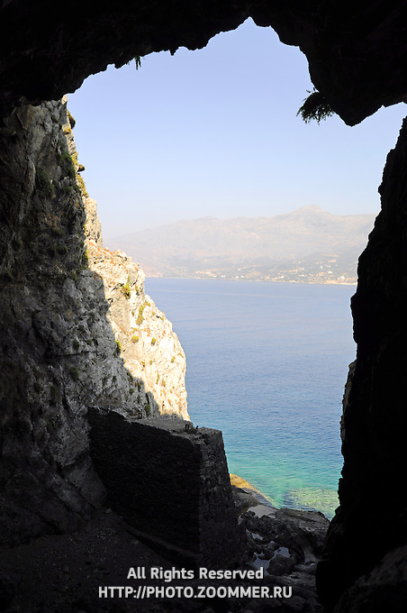 Libyan sea near Plakias (Crete) through the cave