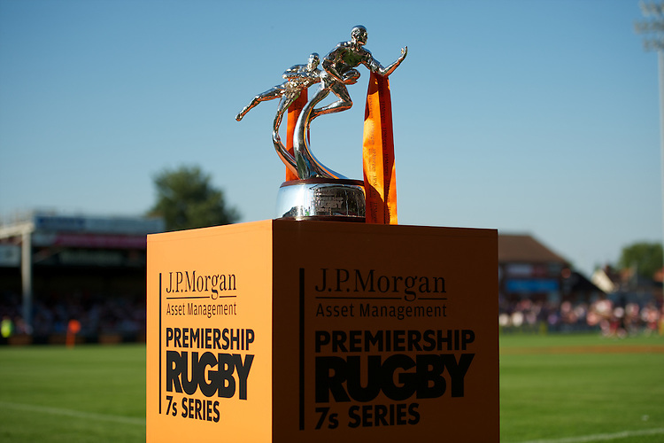 20130801 Copyright onEdition 2013 ©<br />Free for editorial use image, please credit: onEdition.<br /><br />Detail of the J.P. Morgan Asset Management Premiership Rugby 7s Series Trophy.<br /><br />The J.P. Morgan Asset Management Premiership Rugby 7s Series kicks off for the fourth season on Thursday 1st August with Pool A at Kingsholm, Gloucester with Pool B being played at Franklin's Gardens, Northampton on Friday 2nd August, Pool C at Allianz Park, Saracens home ground, on Saturday 3rd August and the Final being played at The Recreation Ground, Bath on Friday 9th August. The innovative tournament, which involves all 12 Premiership Rugby clubs, offers a fantastic platform for some of the country's finest young athletes to be exposed to the excitement, pressures and skills required to compete at an elite level.<br /><br />The 12 Premiership Rugby clubs are divided into three groups for the tournament, with the winner and runner up of each regional event going through to the Final. There are six games each evening, with each match consisting of two 7 minute halves with a 2 minute break at half time.<br /><br />For additional images please go to: http://www.w-w-i.com/jp_morgan_premiership_sevens/<br /><br />For press contacts contact: Beth Begg at brandRapport on D: +44 (0)20 7932 5813 M: +44 (0)7900 88231 E: BBegg@brand-rapport.com<br /><br />If you require a higher resolution image or you have any other onEdition photographic enquiries, please contact onEdition on 0845 900 2 900 or email info@onEdition.com<br />This image is copyright the onEdition 2013©.<br /><br />This image has been supplied by onEdition and must be credited onEdition. The author is asserting his full Moral rights in relation to the publication of this image. Rights for onward transmission of any image or file is not granted or implied. Changing or deleting Copyright information is illegal as specified in the Copyright, Design and Patents Act 1988. If you are in any way unsure of your right to 