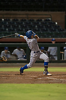 AZL Royals second baseman Kember Nacero (2) follows through on his swing during an Arizona League game against the AZL Giants Black at Scottsdale Stadium on August 7, 2018 in Scottsdale, Arizona. The AZL Giants Black defeated the AZL Royals by a score of 2-1. (Zachary Lucy/Four Seam Images)