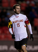 Patrick Mullins (15) of Maryland looks for the ball during the ACC tournament quarterfinals at Ludwig Field in College Park, MD.  Maryland defeated Boston College, 2-0.