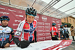 Hitec Products team riders at sign on before the start of the Strade Bianche Women Elite NamedSport race running 136km from Siena to Siena, Italy. 3rd March 2018.<br /> Picture: LaPresse/Massimo Paolone | Cyclefile<br /> <br /> <br /> All photos usage must carry mandatory copyright credit (© Cyclefile | LaPresse/Massimo Paolone)