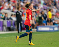 ORLANDO, FL - MARCH 05: Ona Batlle #2 of Spain yells to her team during a game between Spain and Japan at Exploria Stadium on March 05, 2020 in Orlando, Florida.