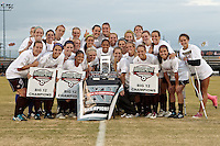 SAN ANTONIO, TX - NOVEMBER 6, 2011: The 2011 Big 12 Conference Women's Soccer Championship Game featuring the Oklahoma State University Cowgirls vs. Texas A&M University Aggies at the Blossom Soccer Stadium. (Photo by Jeff Huehn)