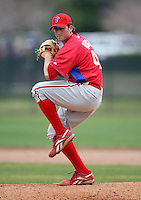 March 25, 2010:  Pitcher Ryan Bergh of the Philadelphia Phillies organization during a Spring Training game at the Carpenter Complex in Clearwater, FL.  Photo By Mike Janes/Four Seam Images