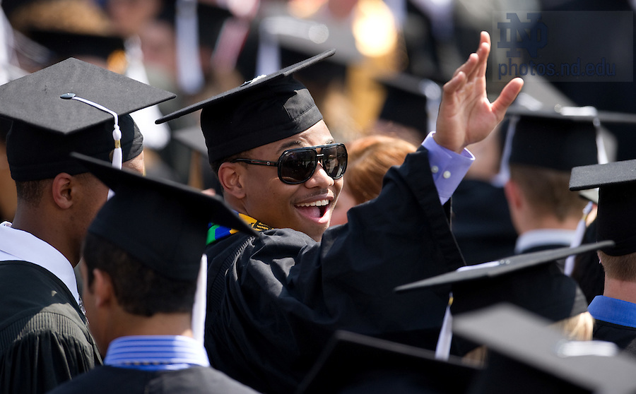 May 22, 2011; Former Notre Dame Fighting Irish Men's Basketball player Tyrone Nash waves after the Commencement ceremony in Notre Dame Stadium...Photo by Matt Cashore/University of Notre Dame