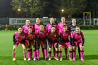 Team picture Sporting Charleroi ( Charleroi Renate Mehevets (15) , Charleroi defender Delphine Preaux (4) , Charleroi midfielder Ludmila Matavkova (9) , Charleroi defender Noemie Fourdin (11) , Charleroi goalkeeper Ambre Collet (1) and Charleroi forward Ylenia Carabott (7) , Charleroi defender Jessica da Silva Valdebenito ( Zapata ) (18) , Charleroi midfielder Ines Dhaou (5) , Charleroi defender Chrystal Lermusiaux (2) , Charleroi midfielder Julie Challe (12) , Charleroi midfielder Megane Vos (20) ) pictured before ring a female soccer game between Sporting Charleroi and Standard Femina de Liege on the sixth matchday of the 2020 - 2021 season of Belgian Scooore Womens Super League , friday 6 th of November 2020  in Marcinelle , Belgium . PHOTO SPORTPIX.BE | SPP | STIJN AUDOOREN