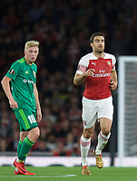 Sokratis Papastathopoulos of Arsenal & Vladyslav Kulach of Vorskla Poltava  during the UEFA Europa League match group between Arsenal and Vorskla Poltava at the Emirates Stadium, London, England on 20 September 2018. Photo by Andrew Aleksiejczuk / PRiME Media Images.