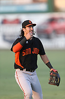 Dillon Dobson (15) of the San Jose Giants before a game against the Inland Empire 66ers at LoanMart Field on August 30, 2017 in San Bernardino California. San Jose defeated Inland Empire, 3-0. (Larry Goren/Four Seam Images)