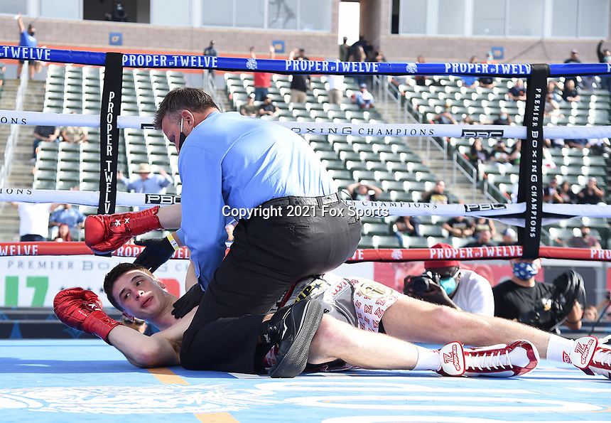 CARSON, CA - MAY 1: Thomas LaManna after being defeated by Erislandy Lara on the Fox Sports PBC fight night on May 1, 2021 at Dignity Health Sports Park in Carson, CA. (Photo by Frank Micelotta/Fox Sports/PictureGroup)