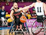 Tyler Miller, Lima 2019 - Wheelchair Basketball // Basketball en fauteuil roulant.<br /> Canada takes on the USA in the gold medal game in men's wheelchair basketball // Le Canada affronte les États-Unis dans le match pour la médaille d'or en basketball en fauteuil roulant masculin. 31/08/2019.