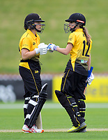 Wellington's Caitlin King and Xara Jetly during the women's Hallyburton Johnstone Shield cricket match between the Wellington Blaze and Auckland Hearts at Basin Reserve in Wellington, New Zealand on Sunday, 17 November 2019. Photo: Dave Lintott / lintottphoto.co.nz