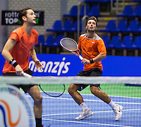 Rotterdam,Netherlands, December 15, 2015,  Topsport Centrum, Lotto NK Tennis, doubles: Tim van Terheijden (R) and Jesse Timmermans (NED)<br /> Photo: Tennisimages/Henk Koster