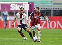 Milano  18-04-2021<br /> Stadio Giuseppe Meazza<br /> Serie A  Tim 2020/21<br /> Milan Genoa<br /> Nella foto:Ismael Bennacer Badelj Milan                                      <br /> Antonio Saia Kines Milano
