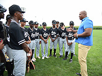 DYERSVILLE, IOWA - AUGUST 11: Fox Sports announcer Frank Thomas meets the Chicago ACE youth baseball team before the game at the MLB Field of Dreams on August 11, 2021 in Dyersville, Iowa. The MLB Field of Dreams game between the Yankees and White Socks will be on August 12 on Fox. (Photo by Frank Micelotta/Fox Sports/PictureGroup)