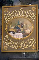 "Europe/Italie/Ombrie/Orvieto : Enseigne du restaurant ""Antica Cantina"""
