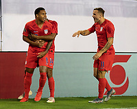 NASHVILLE, TN - JULY 3: Jordan Morris #11 congratulates Weston Mckennie #8 after his goal during a game between Jamaica and USMNT at Nissan Stadium on July 3, 2019 in Nashville, Tennessee.