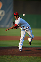 Auburn Doubledays starting pitcher Yonathan Ramirez (26) delivers a pitch during a game against the State College Spikes on August 21, 2017 at Falcon Park in Auburn, New York.  Auburn defeated State College 6-1.  (Mike Janes/Four Seam Images)