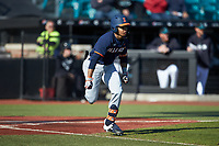 TaylorJackson (15) of the Illinois Fighting Illini hustles down the first base line against the Coastal Carolina Chanticleers at Springs Brooks Stadium on February 22, 2020 in Conway, South Carolina. The Fighting Illini defeated the Chanticleers 5-2. (Brian Westerholt/Four Seam Images)