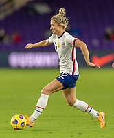 ORLANDO, FL - JANUARY 18: Kristie Mewis #22 of the USWNT dribbles during a game between Colombia and USWNT at Exploria Stadium on January 18, 2021 in Orlando, Florida.
